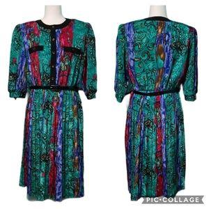 Vintage 70s Secretary Greek Style Dress